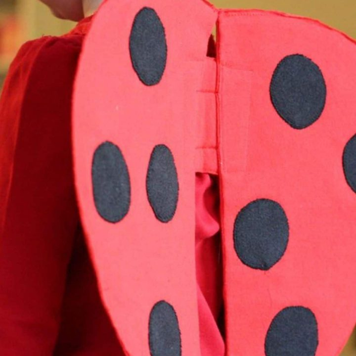 back of girl's torso in red shirt wearing red ladybug wings with black polkadots