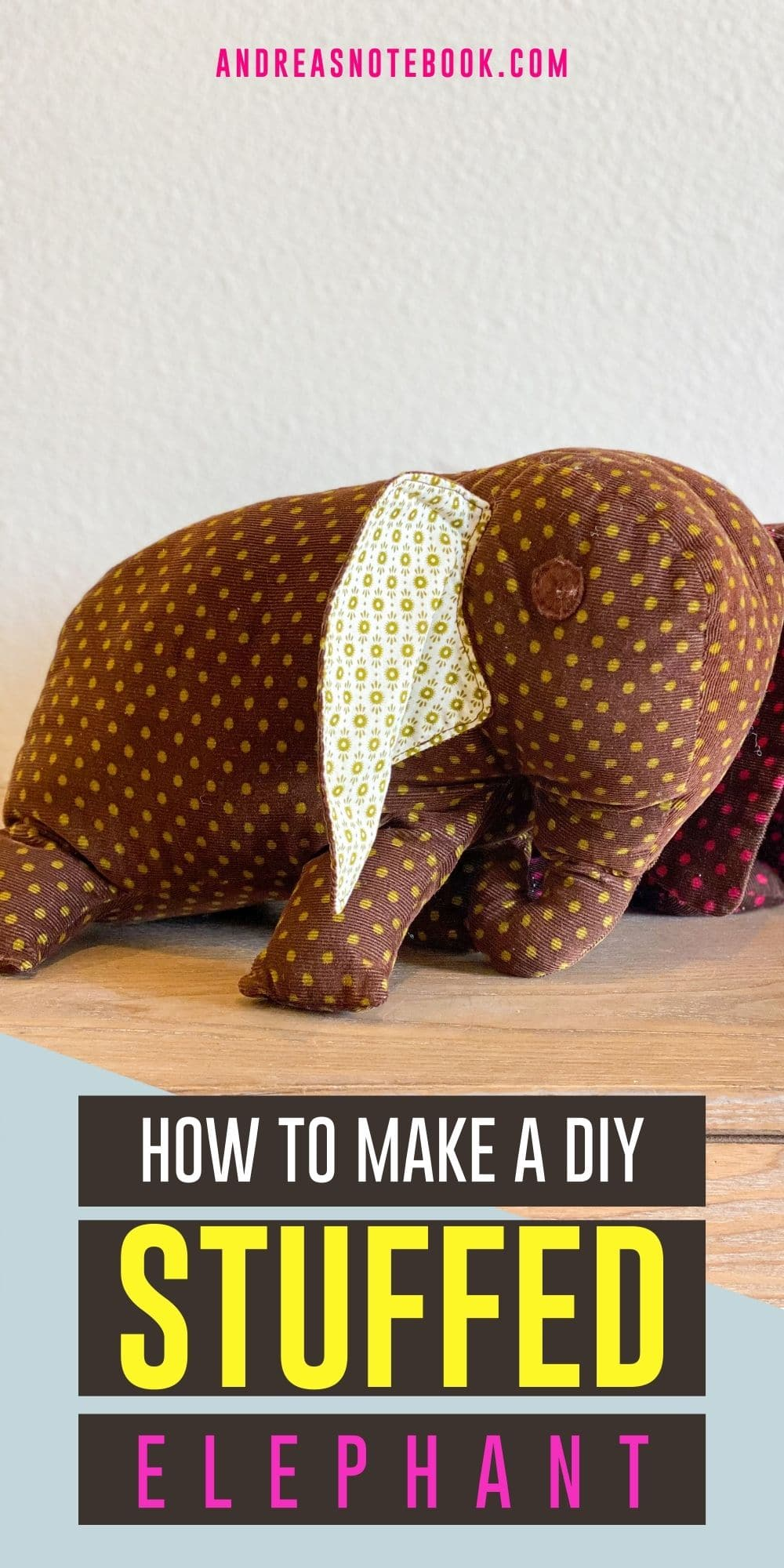 how to sew a stuffed elephant - image of two floppy stuffed elephants