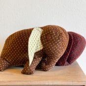 how to sew a stuffed elephant - image of two floppy stuffed elephants