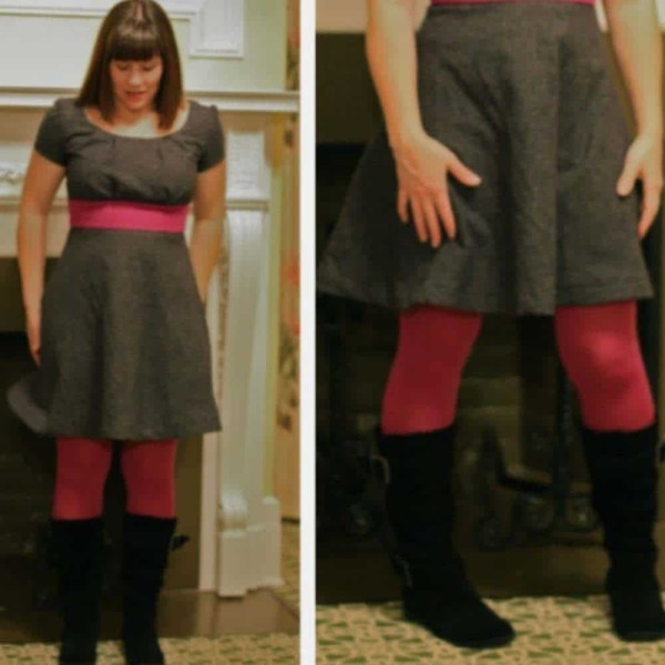 woman wearing homemade gray dress with pink around the middle and tall back boots