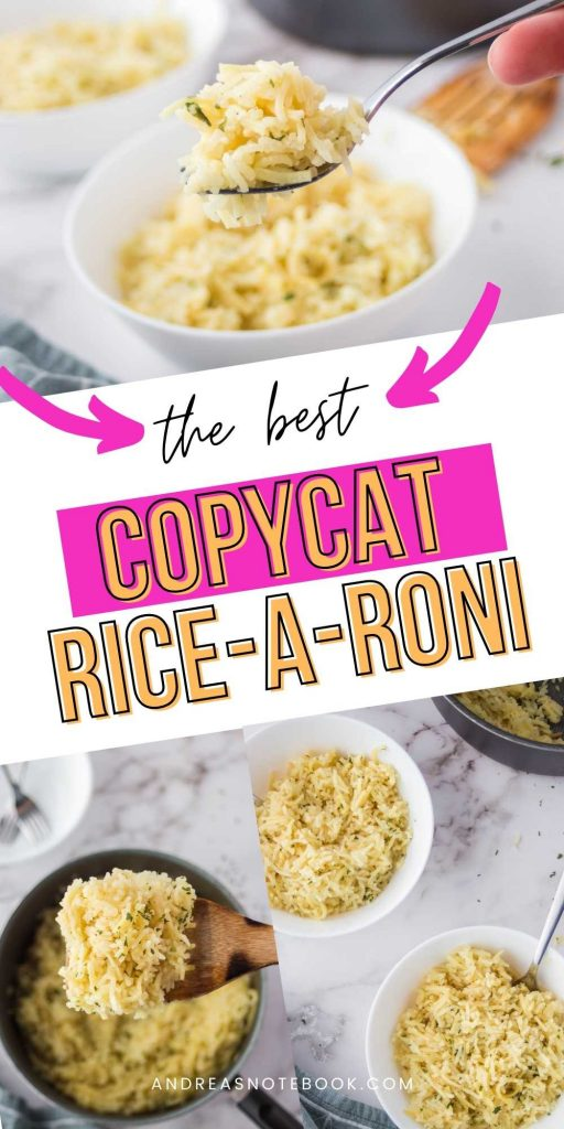 the best copycat rice-a-roni- three images of homemade rice pilaf with ozo displayed in a white bowl and black saucepan.