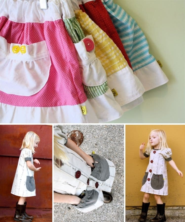 cute pile of little girls skirts. Colorful with white waistband and white ruffle at the hem. White gathered pockets with rounded bottoms.