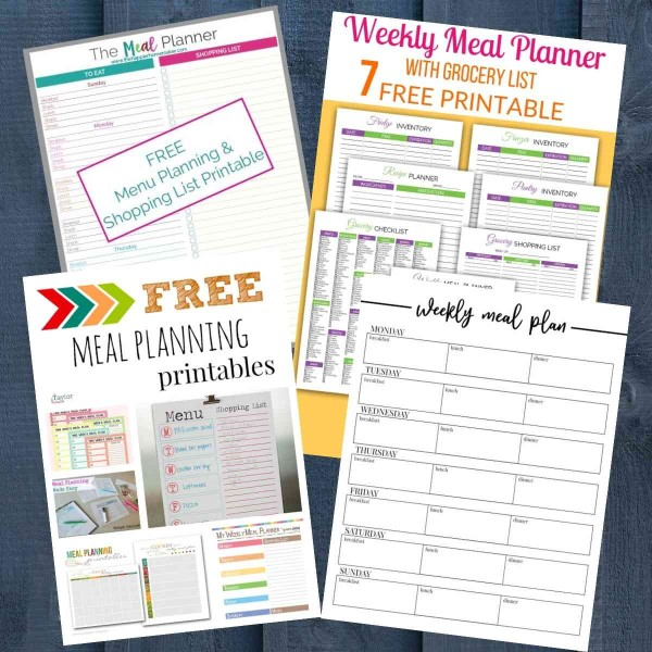 lots of free printable meal plans