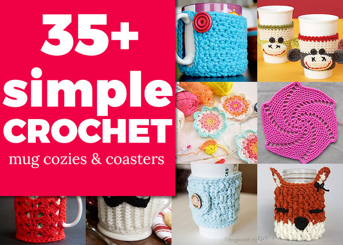 35+ simple crochet tutorials - MUG COZY & COASTER