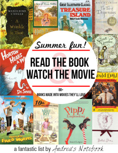 Read the book, watch the movie! Over 80 great children's books made into movies.