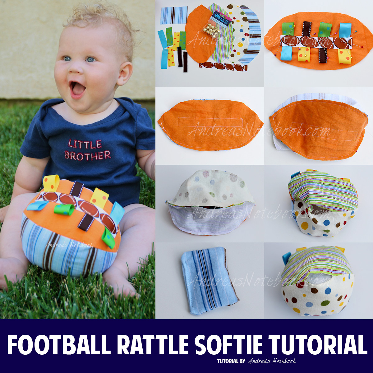 Cute football rattle softie tutorial