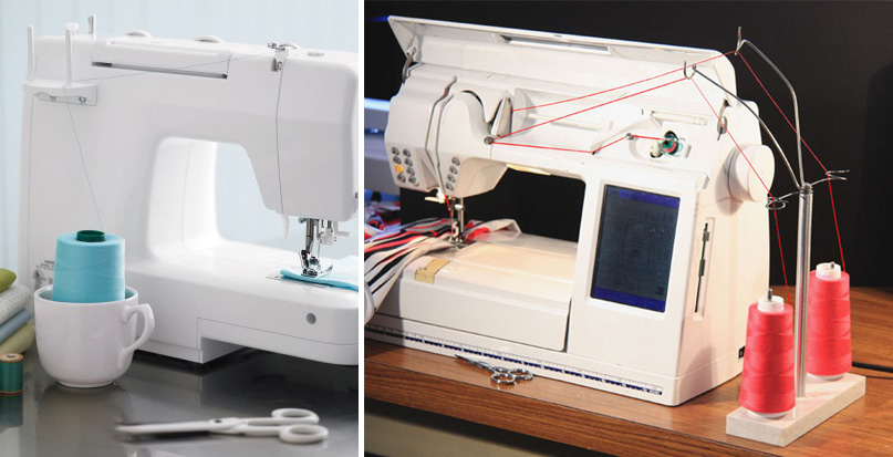 Use a thread stand to use a larger serger cone with your sewing machine!