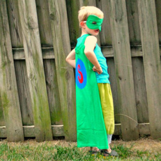 DIY Almost No Sew T-Shirt Superhero Cape Tutorial