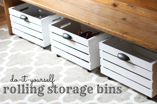 DIY rolling storage bins. Easy way to organize shoes!