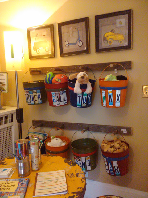 Hang baskets on pegs plus dozens of other great toy storage solutions!