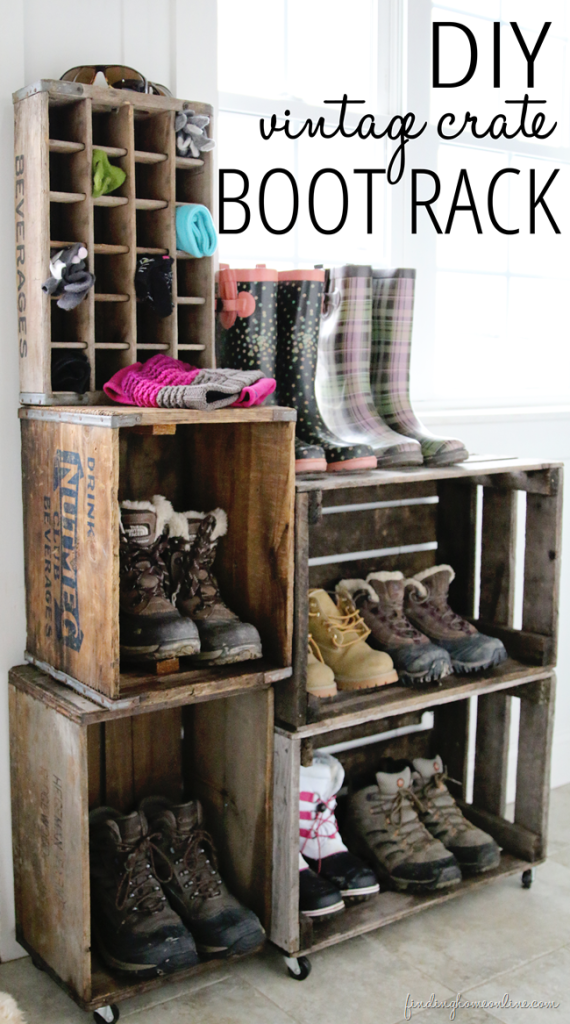 DIY Vintage Crate Boot Rack. Perfect For Family Shoe Storage!