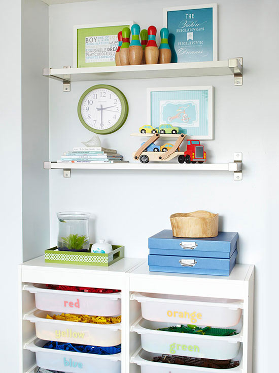 Store legos in Ikea bins and dozens of other great toy storage ideas.