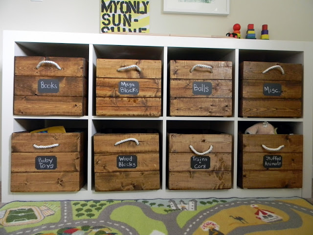 Wooden crate toy storage- Make your own handles!