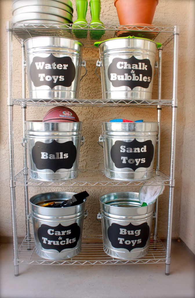 Use metal buckets as toy storage