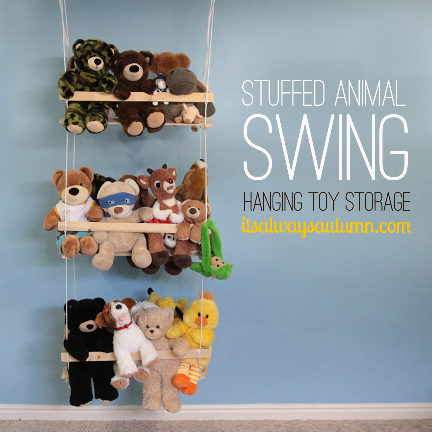 Amazing DIY stuffed animal swing tutorial and tons of other great toy storage solutions!