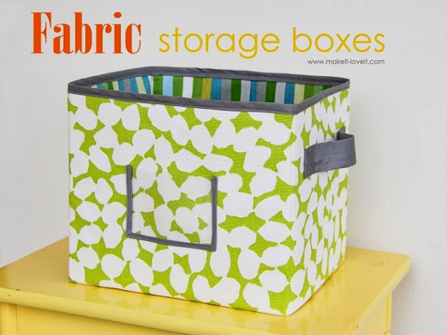 fabric storage boxes and TONS of other great DIY storage solutions