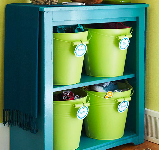 Cute storage buckets with printable labels. Great for shoes!