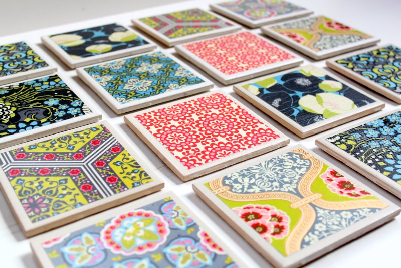 Make your own tile coasters! Great gift idea.