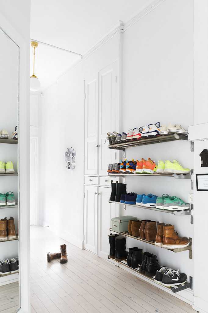 Industrial shoe shelves. Great idea!