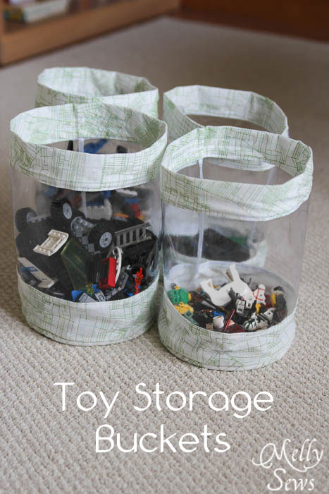 DIY fabric storage buckets and dozens of other great toy storage ideas!