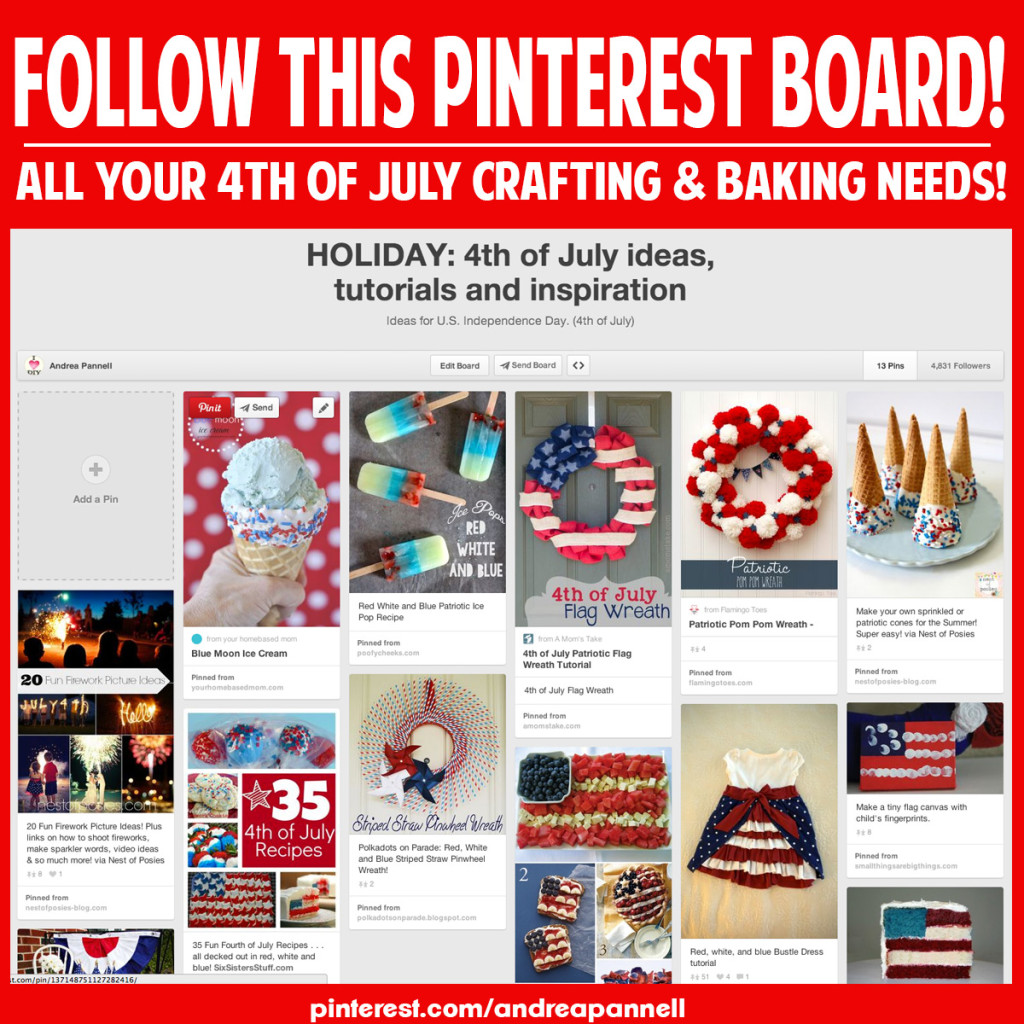 Great 4th of July Pinterest board! They're adding new crafts, recipes and projects every hour!