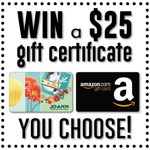 Win $25 to either Amazon.com or JoAnn Fabric & Crafts! Contest ends June 18th.
