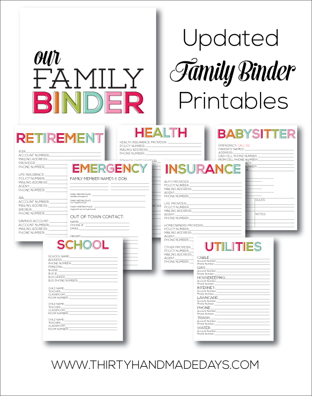 Family binder printables and tons of great organizing ideas