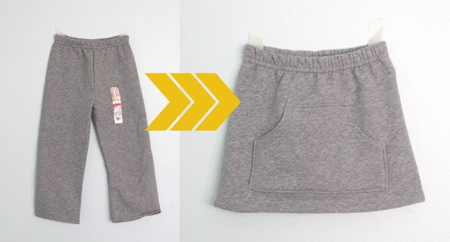 Turn too small sweats into a skirt!