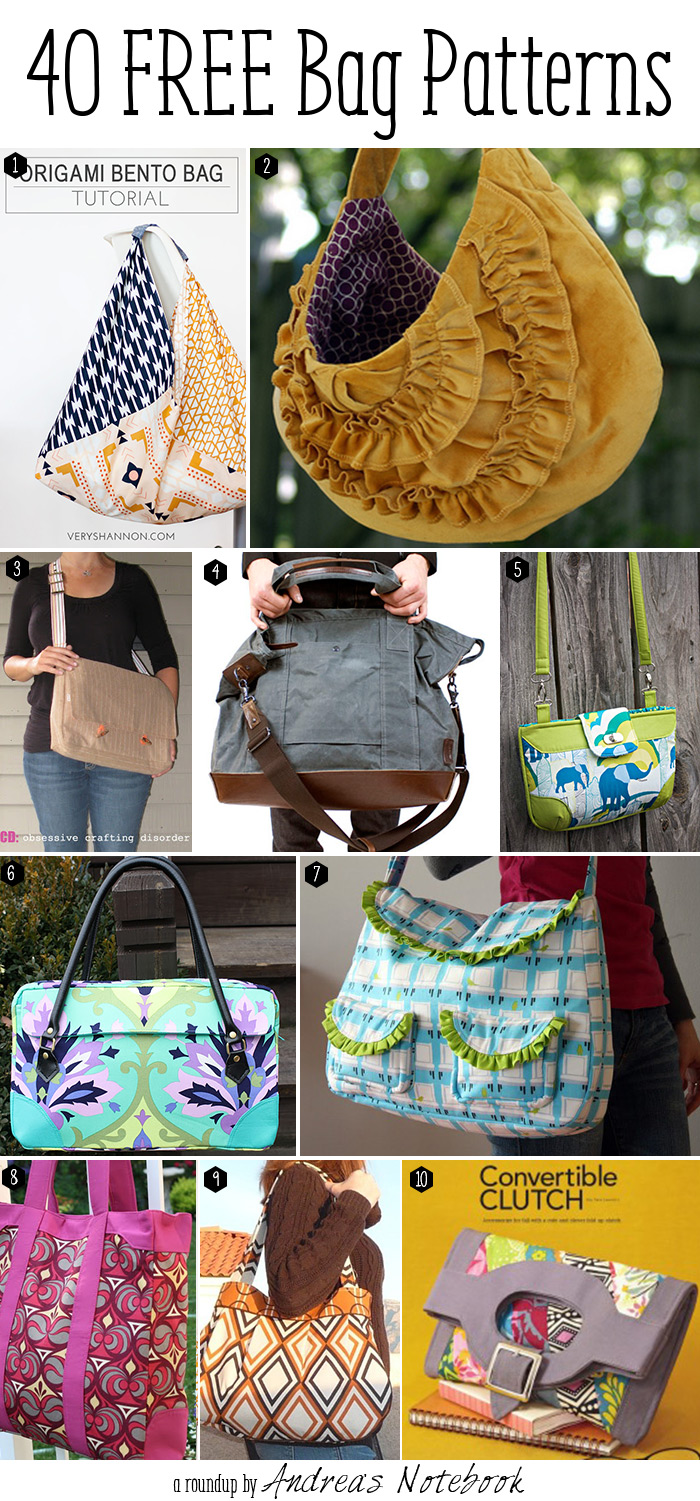 40 fabulous free bag pattern tutorials!