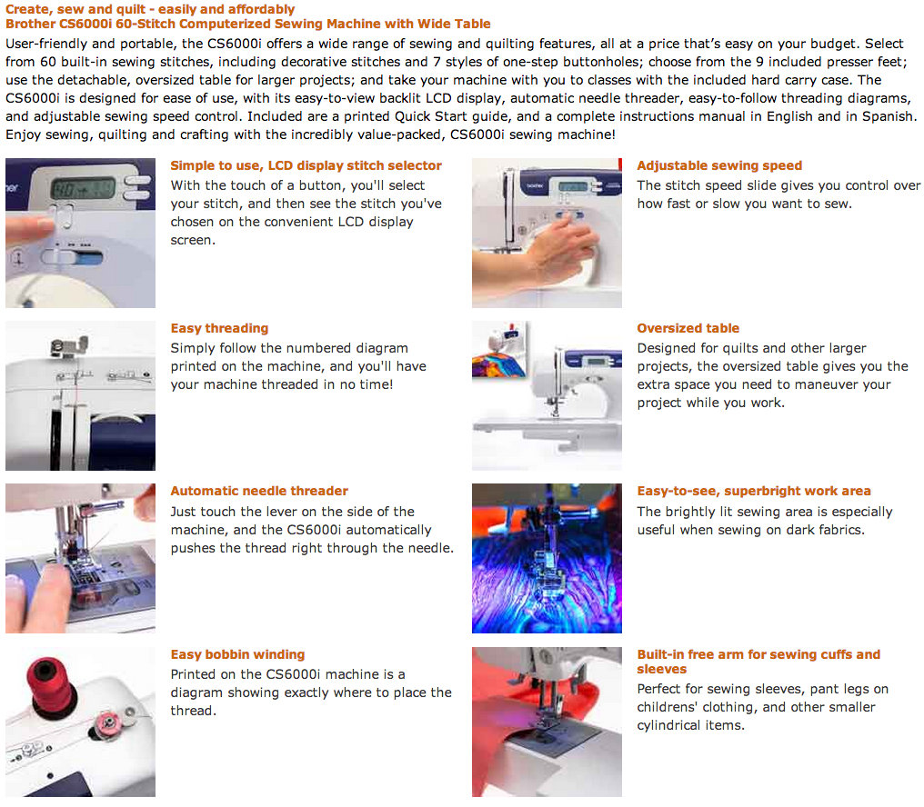 The Brother CS6000i is the most recommended sewing machine!