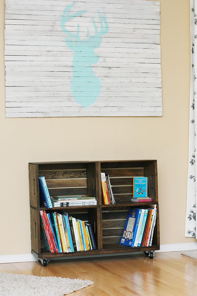 DIY crate bookshelf by SewMuchAdo.com