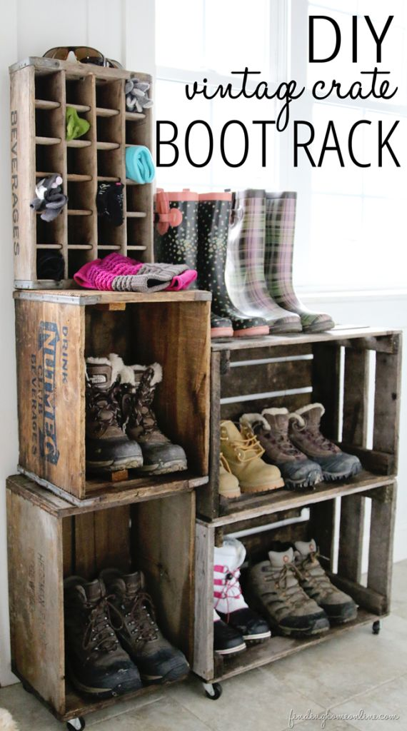 DIY crate boot rack tutorial by Finding Home
