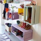 crates on a wall - LOVE this!