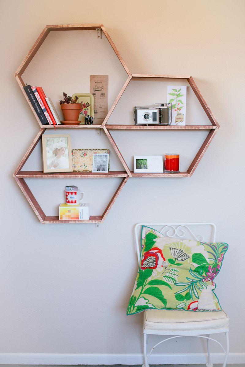 DIY hexagon shelves tutorial