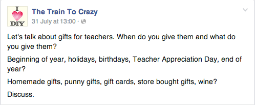 What do you get teachers for the first day of school?