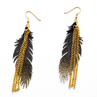 Gold sparkle feather earrings