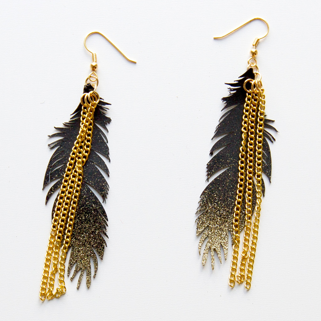 Gorgeous gold feather earrings tutorial