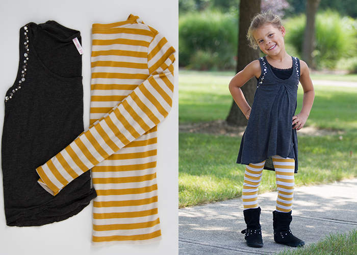 Refashion old women's shirts into leggings and dresses for girls!