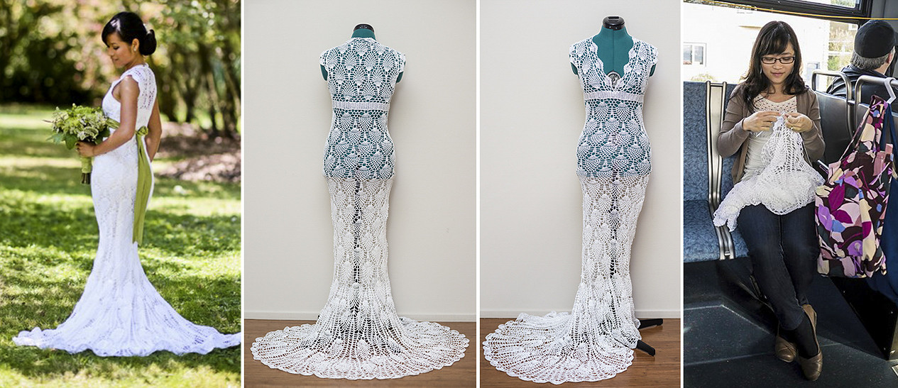 Amazing crocheted wedding dress!