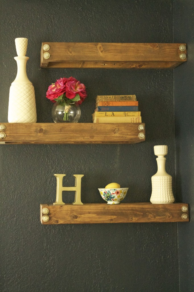 rustic industrial floating shelves tutorial