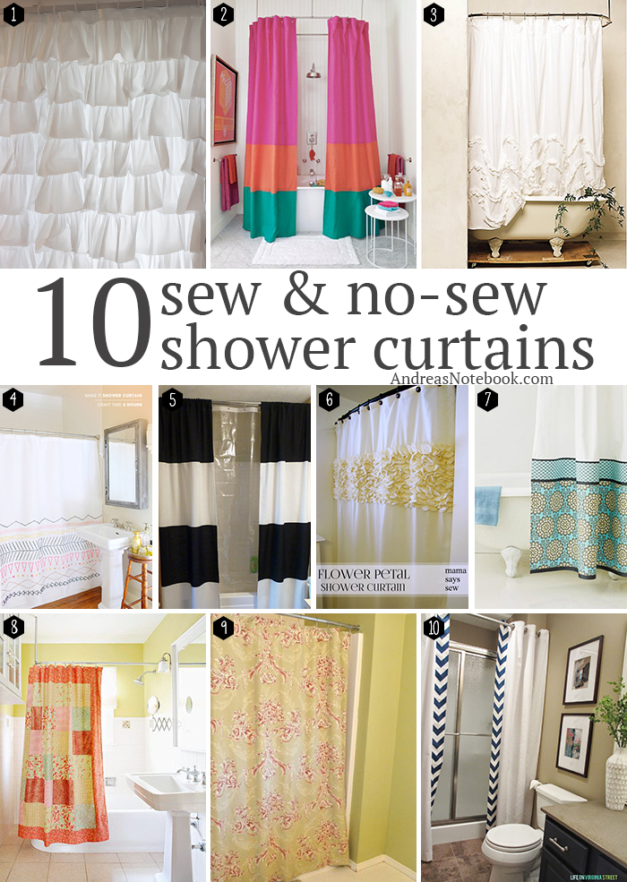 10 sew & no-sew DIY shower curtain tutorials - AndreasNotebook.com