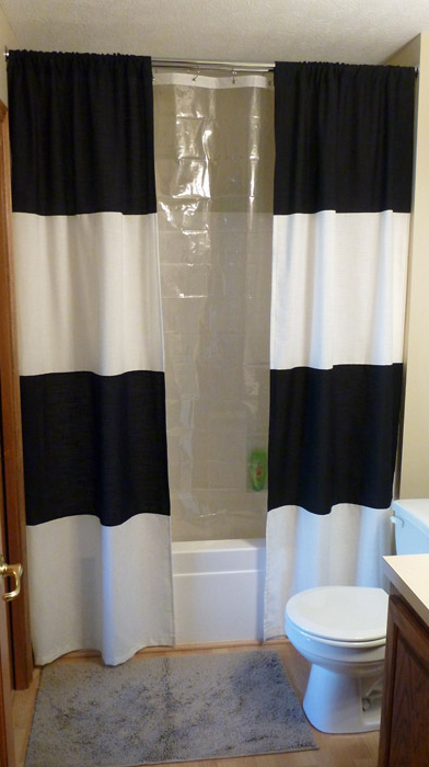 You can sew a striped shower curtain. Tutorial.