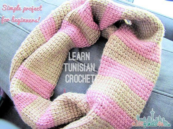 Tunisian crochet infinity scarf tutorial