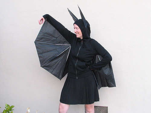 Umbrella + black hoodie = bat costume!!