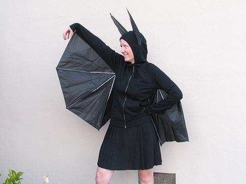 Umbrella + black hoodie = bat costume!!