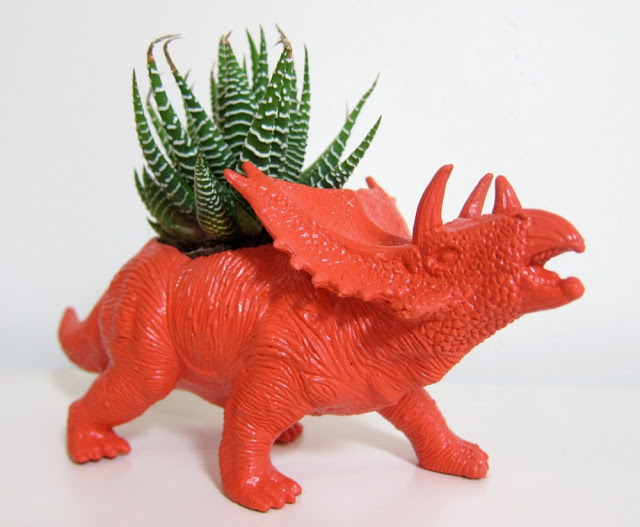 Repurposed dino planter