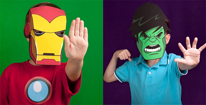 Hulk & Iron Man paper masks - printable!