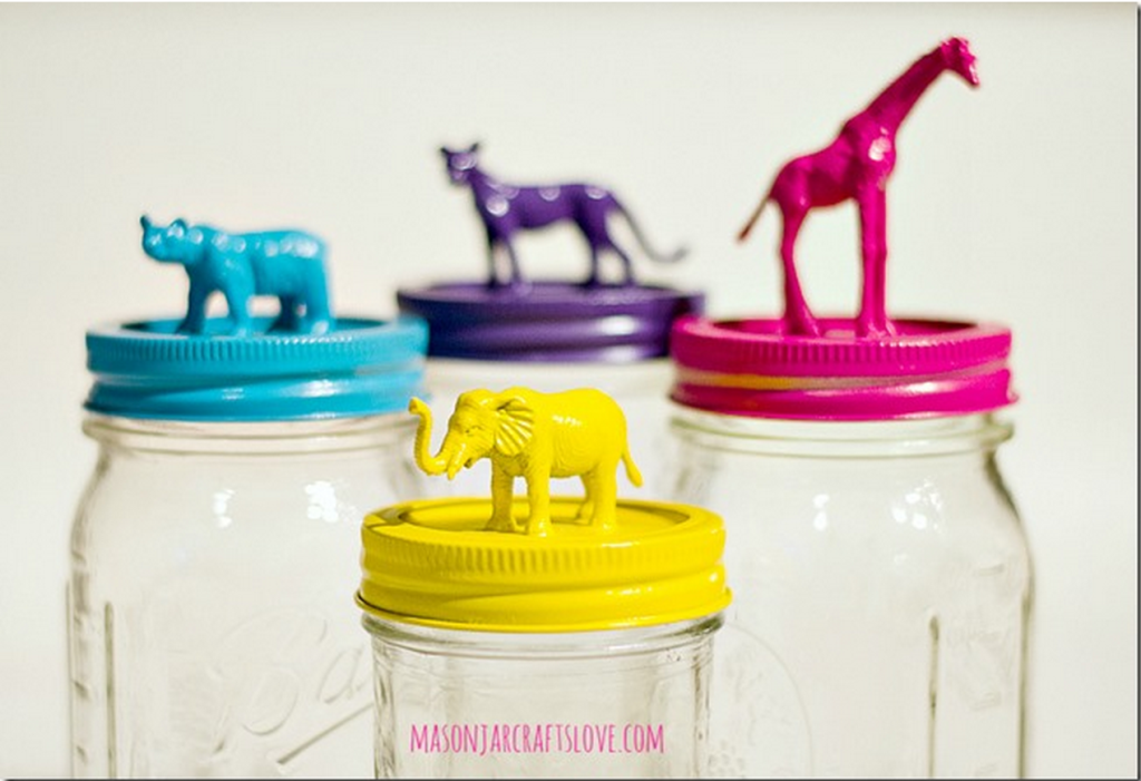 animal mason jar toppers