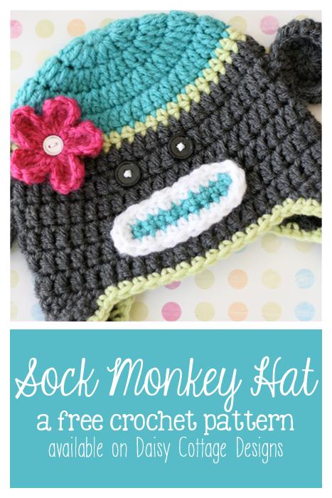 Sock monkey crochet hat pattern (plus other great patterns)