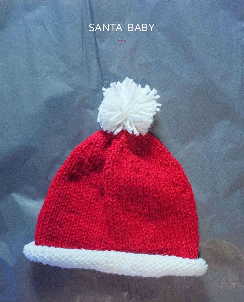 Knit baby santa hat